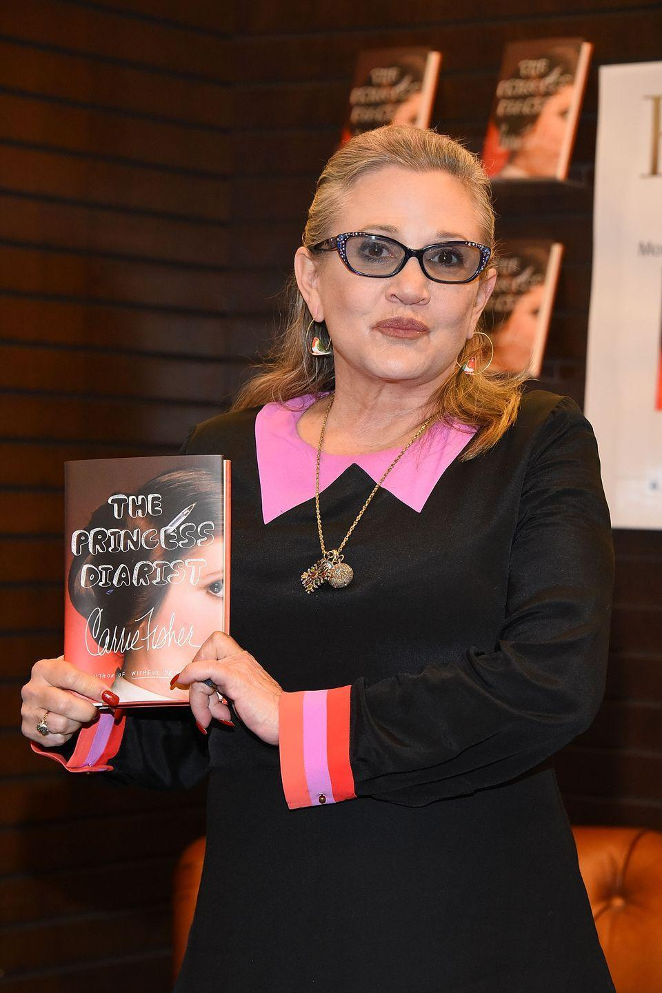 "<p>With more to reveal, Carrie graced us with yet another memoir — this time a <em>Star Wars</em> tell-all. <em><a href=""https://www.amazon.com/Princess-Diarist-Carrie-Fisher/dp/0399173595?tag=syn-yahoo-20&ascsubtag=%5Bartid%7C10055.g.32222003%5Bsrc%7Cyahoo-us"" rel=""nofollow noopener"" target=""_blank"" data-ylk=""slk:The Princess Diarist"" class=""link rapid-noclick-resp"">The Princess Diarist</a></em> was published in 2015 and was based on the actress's diaries she kept while filming the <em>Star Wars </em>films in the late '70s and early '80s. One of the bombs she dropped in the book? A three-month-long <a href=""https://www.youtube.com/watch?v=7qSy7azPCSc"" rel=""nofollow noopener"" target=""_blank"" data-ylk=""slk:affair with her costar"" class=""link rapid-noclick-resp"">affair with her costar</a>, Harrison Ford. </p>"