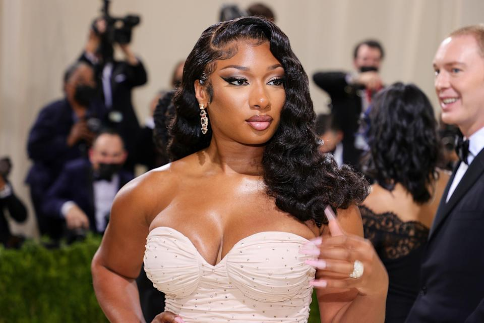 NEW YORK, NEW YORK - SEPTEMBER 13: Megan Thee Stallion attends The 2021 Met Gala Celebrating In America: A Lexicon Of Fashion at Metropolitan Museum of Art on September 13, 2021 in New York City. (Photo by Theo Wargo/Getty Images)