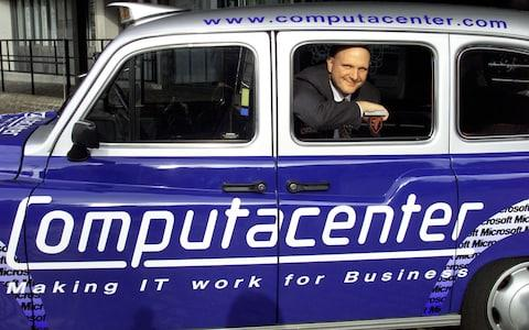 <span>From the archive: Then-Microsoft President Steve Ballmer in a Computacenter-branded taxi in 1998</span> <span>Credit: KEVIN LAMARQUE/Reuters </span>