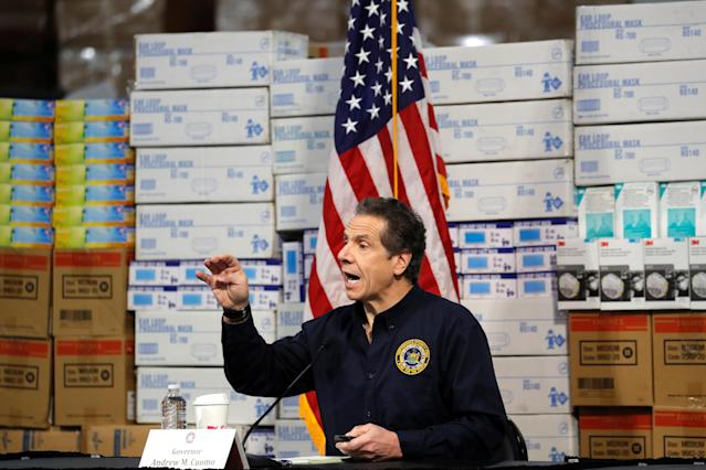 New York Gov. Andrew Cuomo at the Javits Convention Center in New York City on Tuesday. (Mike Segar/Reuters)