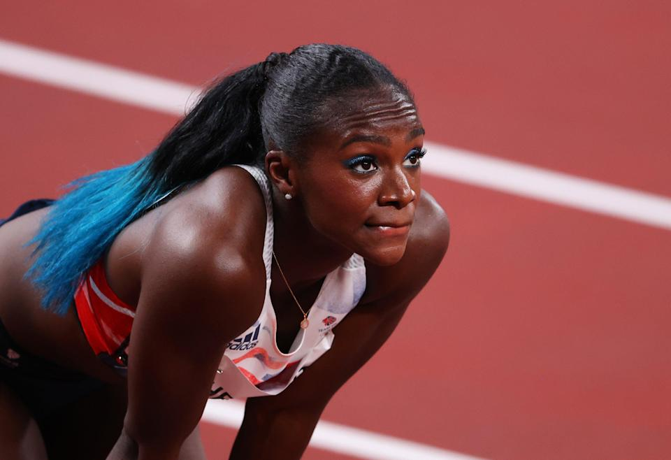 Dina Asher-Smith of Team Great Britain reacts after finishing third (Getty)