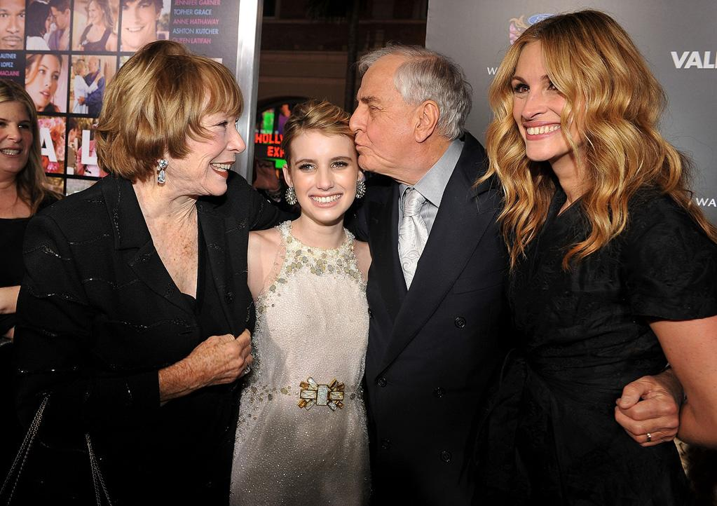 "<a href=""http://movies.yahoo.com/movie/contributor/1800028269"">Shirley Maclaine</a>, <a href=""http://movies.yahoo.com/movie/contributor/1804508466"">Emma Roberts</a>, <a href=""http://movies.yahoo.com/movie/contributor/1800019212"">Garry Marshall</a> and <a href=""http://movies.yahoo.com/movie/contributor/1800019215"">Julia Roberts</a> at the Los Angeles premiere of <a href=""http://movies.yahoo.com/movie/1810094501/info"">Valentine's Day</a> - 02/08/2010"