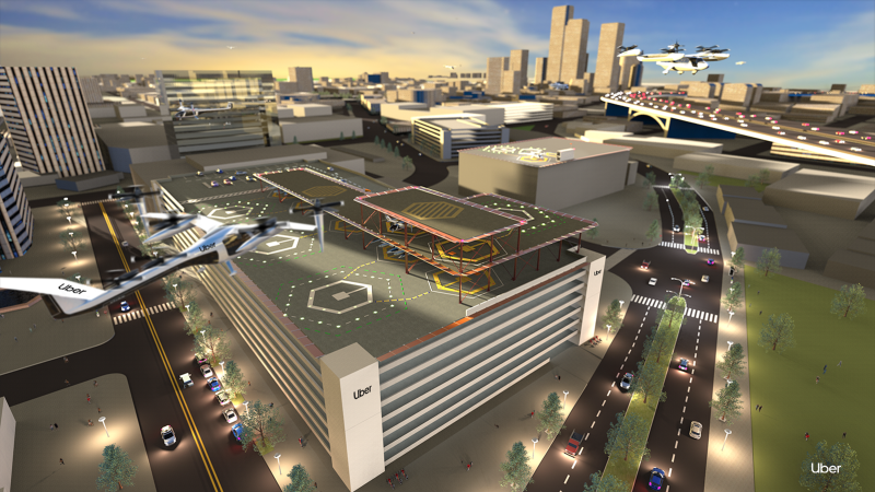 Pictured: An Uber Air flying taxi lands at a skyport. Source: Uber