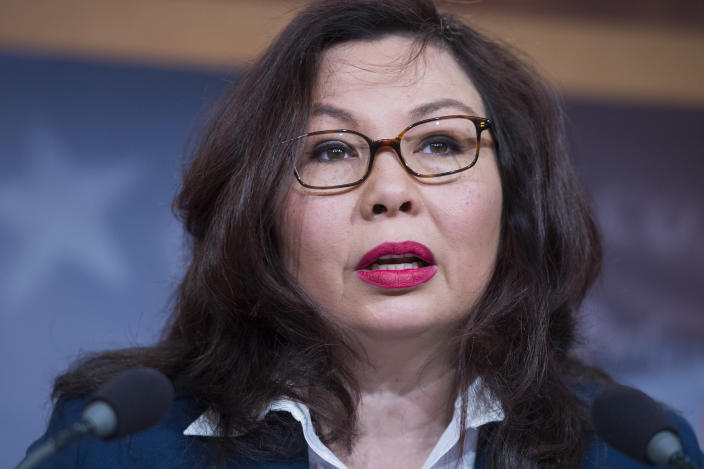 Sen. Tammy Duckworth, D-Ill., above, unsuccessfully appealed to Homeland Security Secretary Kirstjen Nielsen to delay the deportation of fellow veteran Miguel Perez-Montes. (Photo: Tom Williams/CQ Roll Call)