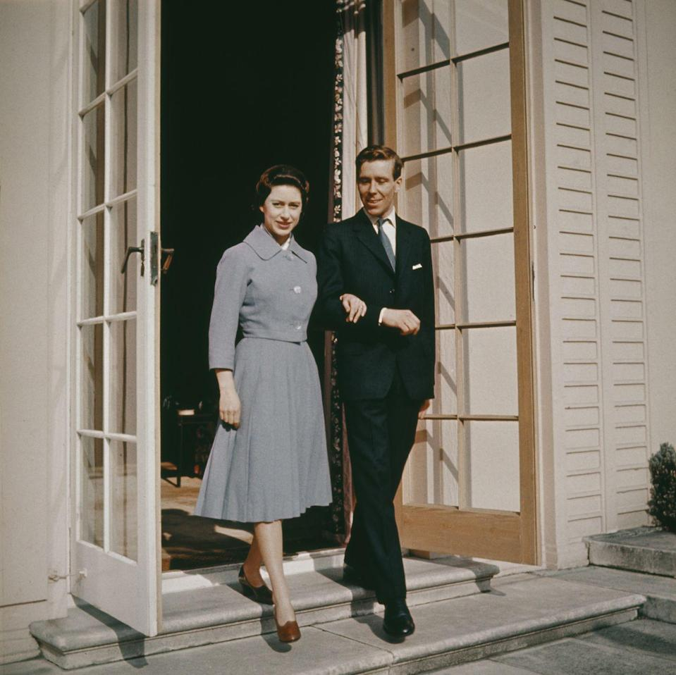 <p>Margaret and Anthony Armstrong-Jones at the Royal Lodge in Windsor after announcing their engagement. </p>
