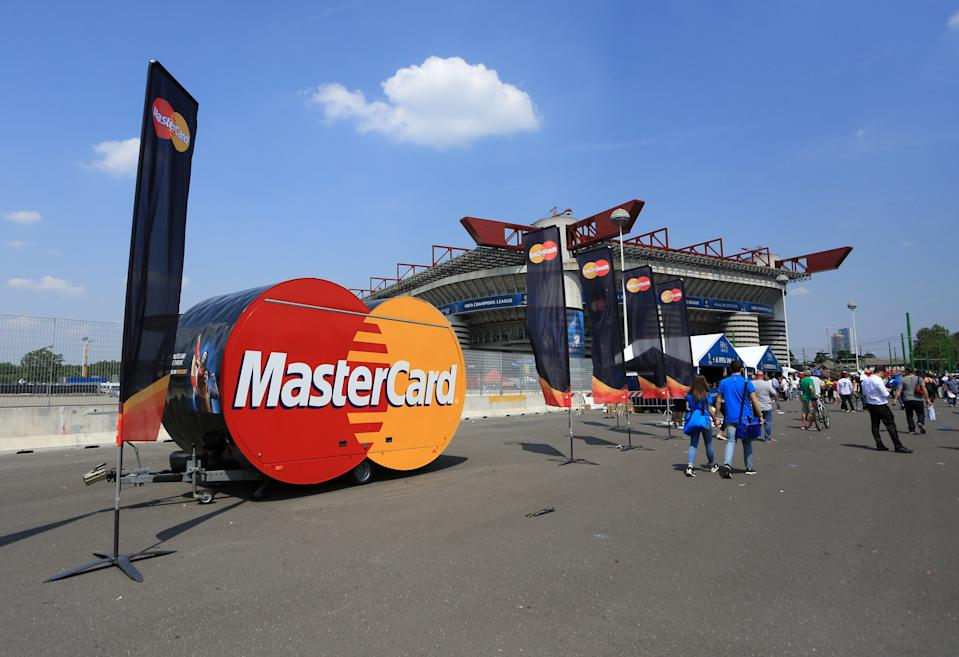 MILAN, ITALY - MAY 28 : The mastercard stand outside the stadium before the UEFA Champions League Final match between Real Madrid and Club Atletico de Madrid at Stadio Giuseppe Meazza on May 28, 2016 in Milan, Italy. (Photo by Catherine Ivill - AMA/Getty Images)