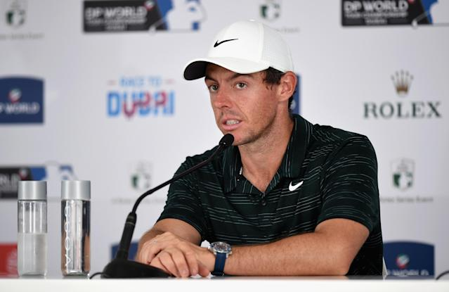 """<a class=""""link rapid-noclick-resp"""" href=""""/pga/players/8016/"""" data-ylk=""""slk:Rory McIlroy"""">Rory McIlroy</a> considered watching the Phil vs. Tiger match, but decided against it. (Photo by Tom Dulat/Getty Images)"""