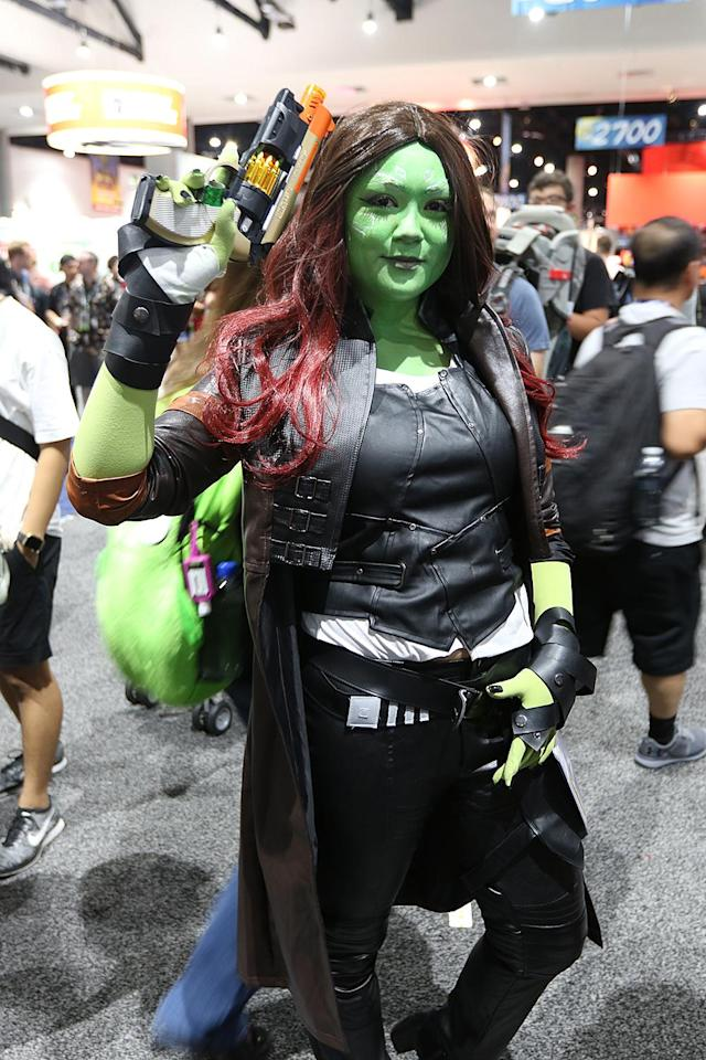 <p>Cosplayer dressed as Gamora from <i>Guardians of the Galaxy</i> at Comic-Con International on July 21, 2018, in San Diego. (Photo: Angela Kim/Yahoo Entertainment) </p>