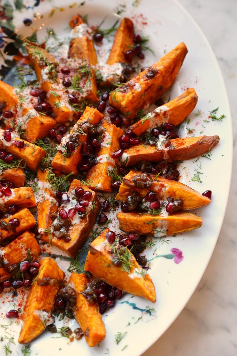 "<p><strong>Get the recipe: </strong><a href=""https://www.popsugar.com/food/Padma-Lakshmi-Roasted-Sweet-Potatoes-Recipe-42644806"" class=""link rapid-noclick-resp"" rel=""nofollow noopener"" target=""_blank"" data-ylk=""slk:roasted sweet potatoes with balsamic onion jam"">roasted sweet potatoes with balsamic onion jam</a></p>"