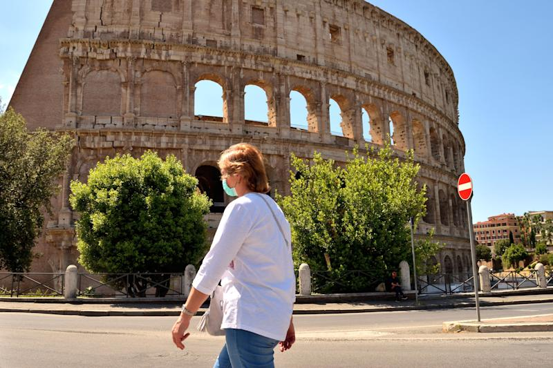 May 25th 2020, Rome, Italy: View of the Colosseum without tourists due to the phase 2 of lockdown (Photo: silentstock639 via Getty Images)