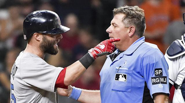 """<p>Boston Red Sox second baseman Dustin Pedroia was taken to a Houston area hospital for X-rays after being hit by a pitch on Sunday night.</p><p>Pedroia was hit in the rib area with a 92-mph pitch in the seventh inning of Boston's 6–5 win by Astros James Hoyt.</p><p>Pedroia yelled at Hoyt before being heading to first base and ended up leaving the game for good a short time later.</p><p>""""The pitch hit him in the left lat area, left rib cage,"""" Red Sox manager John Farrell <a href=""""http://m.redsox.mlb.com/news/article/237376564/dustin-pedroia-hit-by-pitch-undergoes-x-rays/?topicId=27118144"""" rel=""""nofollow noopener"""" target=""""_blank"""" data-ylk=""""slk:said"""" class=""""link rapid-noclick-resp"""">said</a>. """"It continued to swell and tighten up. He was losing a lot of range of motion with his left arm, so we had to get him off his feet. But we'll have a better read once he goes through the exam here at a local hospital.""""</p><p>Hoyt also hit Red Sox rightfielder Mookie Betts in the right knee in the previous at-bat.</p><p>It is not known if Pedroia will be available for the team's three-game set that starts in Kansas City on Monday, although he was cleared to fly with the team.</p><p>Pedroia is hitting .296 with two home runs and 25 RBI for this season for Boston (39–30), who are tied with the New York Yankees for AL East lead.</p>"""