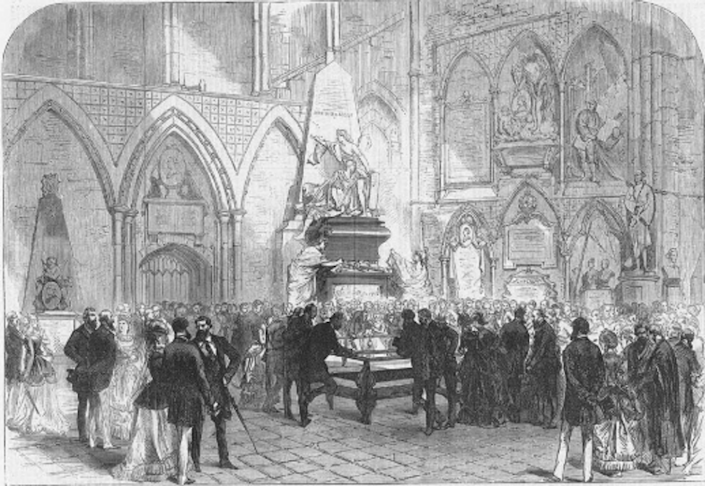 """<span class=""""caption"""">'The Grave of Charles Dickens in Poets' Corner, Westminster Abbey Illustrated London News, June 1870.</span> <span class=""""attribution""""><a class=""""link rapid-noclick-resp"""" href=""""https://dickensmuseum.com/"""" rel=""""nofollow noopener"""" target=""""_blank"""" data-ylk=""""slk:Leon Litvack"""">Leon Litvack</a></span>"""
