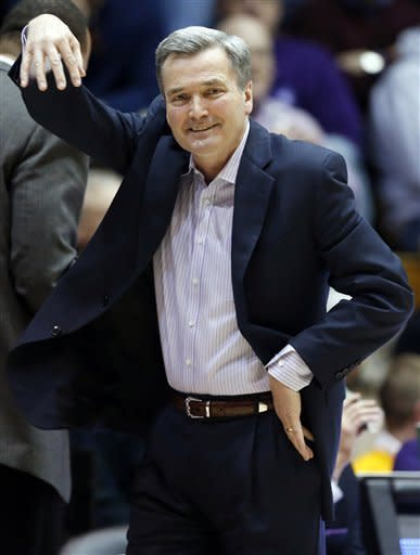 Northwestern head coach Bill Carmody reacts as he watches his team during the second half of an NCAA college basketball game against Minnesota in Evanston, Ill., Wednesday, Jan. 23, 2013. Northwestern won 55-48. (AP Photo/Nam Y. Huh)