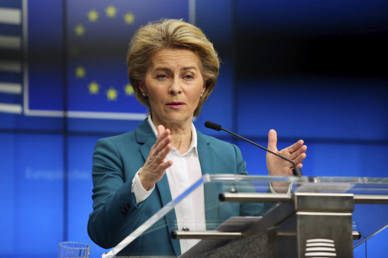 European Commission President Ursula von der Leyen addresses the media after a video-conference with G7 leaders at the European Council building in Brussels, Monday, March 16, 2020. European Commission President Ursula von der Leyen wants the European Union to put in place a 30-day ban on people entering the bloc for non-essential travel reasons in an effort to curb the spread of coronavirus. For most people, the new coronavirus causes only mild or moderate symptoms, such as fever and cough. For some, especially older adults and people with existing health problems, it can cause more severe illness, including pneumonia. (AP Photo/Olivier Matthys)