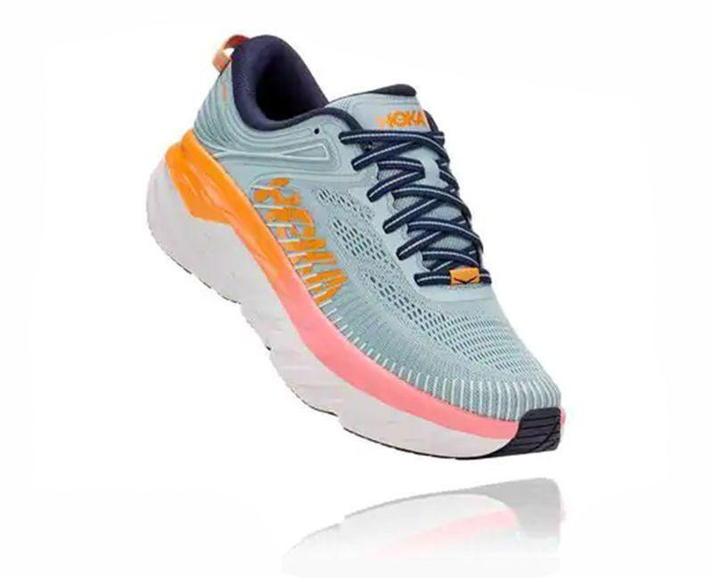 """<p><strong>HOKA</strong></p><p>hokaoneone.com</p><p><strong>$150.00</strong></p><p><a href=""""https://go.redirectingat.com?id=74968X1596630&url=https%3A%2F%2Fwww.hokaoneone.com%2Fwomens-road%2Fbondi-7%2F1110519.html&sref=https%3A%2F%2Fwww.womenshealthmag.com%2Ffitness%2Fg23517576%2Fbest-walking-shoes-for-women%2F"""" rel=""""nofollow noopener"""" target=""""_blank"""" data-ylk=""""slk:Shop Now"""" class=""""link rapid-noclick-resp"""">Shop Now</a></p><p>If you need lots of cushioning for a shoe to be comfy, look no further than Hoka One One. These offer a plush feel under your foot. </p><p><strong>Reviewer Rave:</strong> """"I love these shoes; they are the second pair I have bought because they are so comfortable.""""</p>"""
