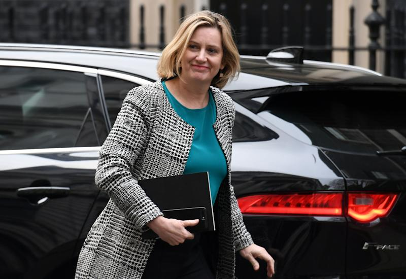 RETRANSMITTED CORRECTING BYLINE TO STEFAN ROUSSEAU. Secretary of State for Work and Pensions Amber Rudd arrives in Downing Street, London.