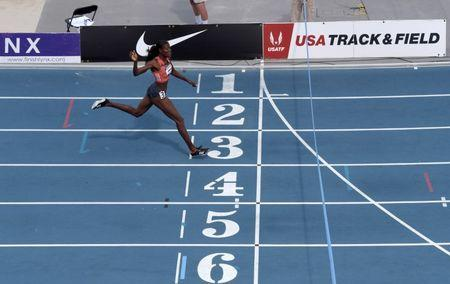 Jun 23, 2018; Des Moines, IA, USA; Shakima Wimbley wins the women's 400m in a stadium record 49.52 during the USA Championships at Drake Stadium. Mandatory Credit: Kirby Lee-USA TODAY Sports
