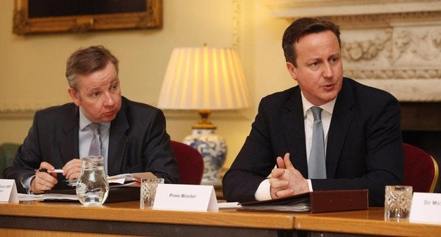 David Cameron and Michael Gove attend a meeting on education at 10 Downing Street in 2012