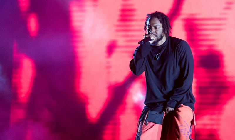 BUENOS AIRES, ARGENTINA - MARCH 31: Kendrick Lamar performs during the third day of Lollapalooza Buenos Aires 2019 at Hipodromo de San Isidro on March 31, 2019 in Buenos Aires, Argentina. (Photo by Santiago Bluguermann/Getty Images)