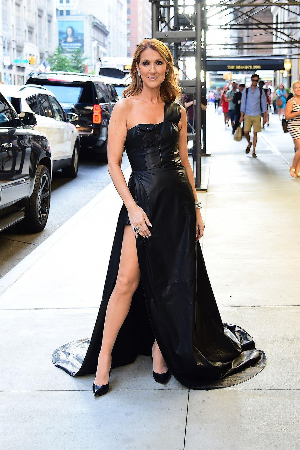 <p>In a black leather high-slit gown while out in New York. <br></p>