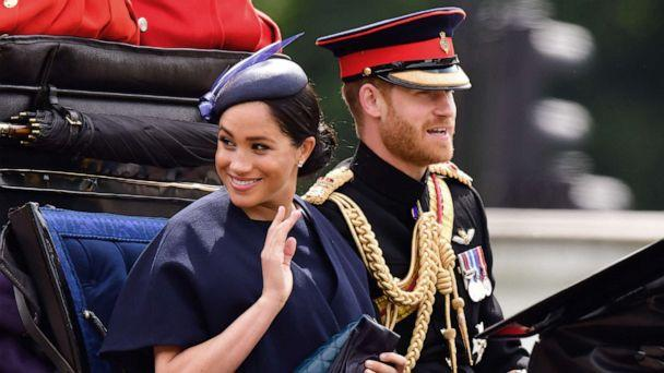 PHOTO: Meghan, Duchess of Sussex and Prince Harry, Duke of Sussex leave Buckingham Palace in a carriage during Trooping The Colour, the Queen's annual birthday parade, on June 8, 2019 in London. (James Devaney/Getty Images, FILE)