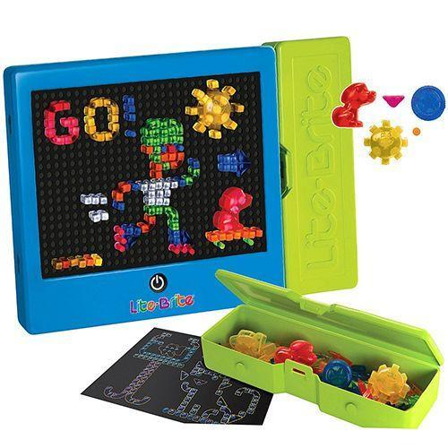 """<p><strong><em>Lite Brite Classic</em></strong><strong><em>, $15</em></strong> <a class=""""link rapid-noclick-resp"""" href=""""http://www.target.com/p/-/A-15361107"""" rel=""""nofollow noopener"""" target=""""_blank"""" data-ylk=""""slk:BUY NOW"""">BUY NOW</a></p><p>Still widely available today, Lite Brites consist of a box with numerous peg holes covered with black paper, and users can create designs with different colored translucent pegs that give the appearance of being lit up.</p>"""