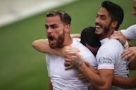 Inter Miami CF defender Leandro Gonzalez celebrates with teammates after scoring the game-winning goal against Orlando City during the second half of Saturday's game in Fort Lauderdale. The win moved Miami into playoff contention.
