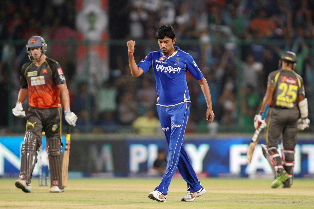 Siddarth Trivedi celebrates the wicket of Cameron White during the Eliminator match of the 2013 Pepsi Indian Premier League between the Rajasthan Royals and the Sunrisers Hyderabad held at the Feroz Shah Kotla Stadium, Delhi on the 22nd May 2013. (BCCI)