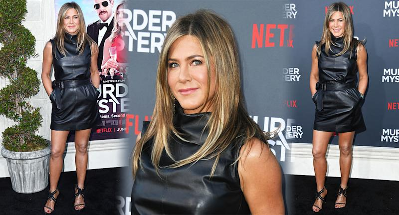 Jennifer Aniston works a Celine minidress on the red carpet. [Photo: Getty]