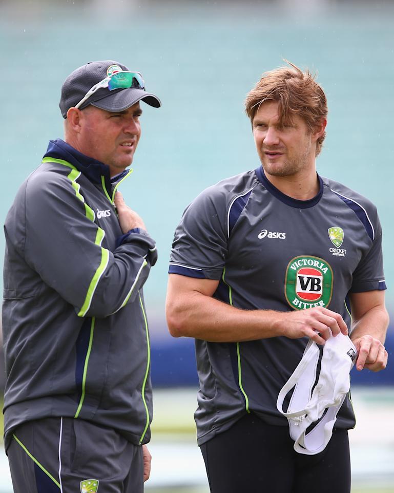 LONDON, ENGLAND - JUNE 16:  Shane Watson of Australia talks to Australia coach Mickey Arthur during an Australia Nets Session ahead of the ICC Champions Trophy Group A match between Australia and Sri Lanka at The Kia Oval on June 16, 2013 in London, England.  (Photo by Paul Gilham/Getty Images)