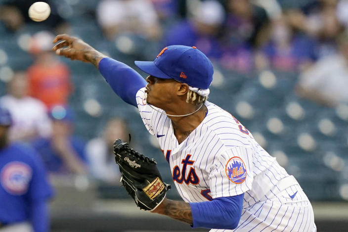 New York Mets starting pitcher Marcus Stroman delivers during the first inning of the team's baseball game against the Chicago Cubs, Thursday, June 17, 2021, in New York. (AP Photo/Kathy Willens)