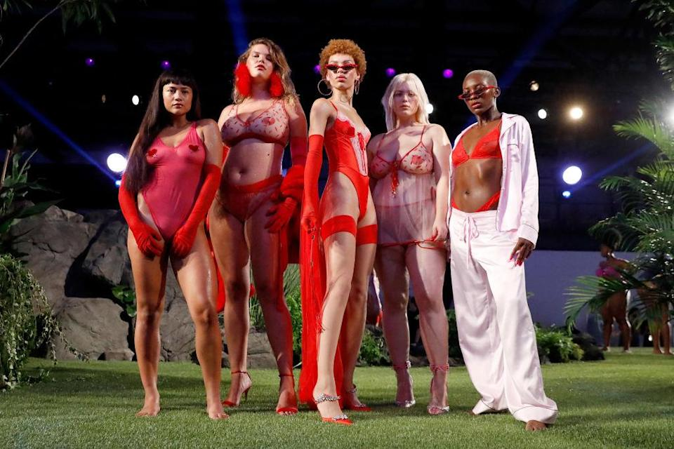 Models pose during the Savage X Fenty Fall/Winter 2018 fashion show during NYFW at the Brooklyn Navy Yard on Sept. 12, 2018. (Photo: Getty Images)