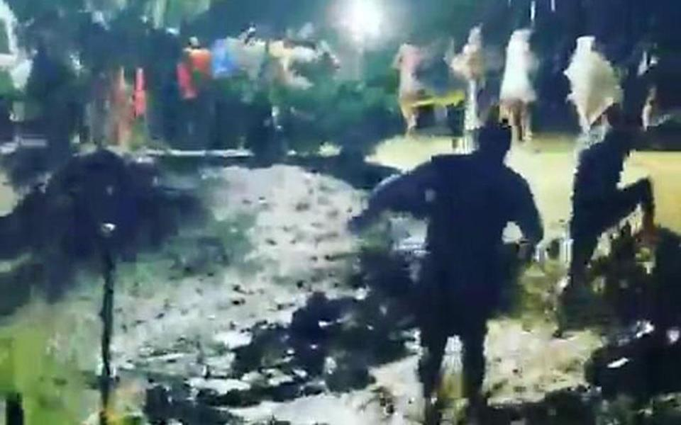 Dangerous mudslides started to form during a chaotic rush towards the exits. Source: Instagram/Bebbsie