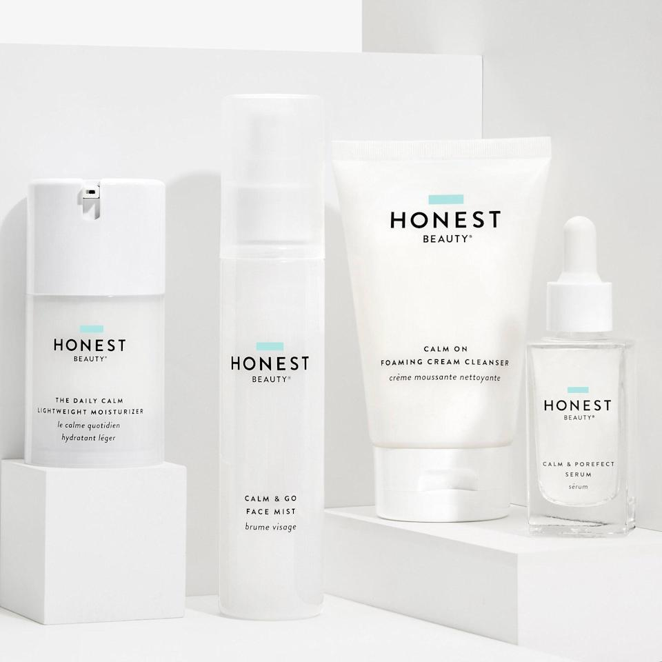 """<p>We can all use a bit of calm every now and then, but for any grad fresh off of a marathon of finals, The Honest Company's Complete Calm Kit will be a welcomed skin treat. As the name suggests, the full four-step regimen is made for deep cleaning without irritation. Start with the foaming cleanser, which leaves a hydrating dose of <a href=""""https://www.allure.com/story/what-is-hyaluronic-acid-skin-care?mbid=synd_yahoo_rss"""" rel=""""nofollow noopener"""" target=""""_blank"""" data-ylk=""""slk:hyaluronic acid"""" class=""""link rapid-noclick-resp"""">hyaluronic acid</a> behind as it breaks down makeup and grime. </p> <p>Layer on the amino acids-enriched serum, which strengthens the <a href=""""https://www.allure.com/story/what-is-moisture-barrier-skin-care?mbid=synd_yahoo_rss"""" rel=""""nofollow noopener"""" target=""""_blank"""" data-ylk=""""slk:skin's moisture barrier"""" class=""""link rapid-noclick-resp"""">skin's moisture barrier</a>. Top the serum off with the lightweight moisturizer, and when skin gets out of whack from too much screen time, give it a quick pick-me-up with the vitamin B5-infused face mist. </p>"""