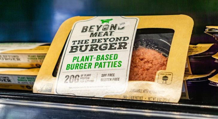 Image of Beyond Meat (BYND) burger patties on a store shelf
