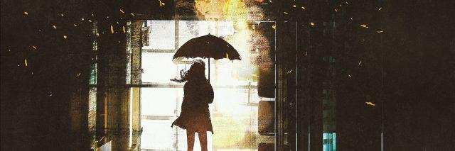 silhouette of woman with umbrella standing at window with bright light from outside,illustration painting