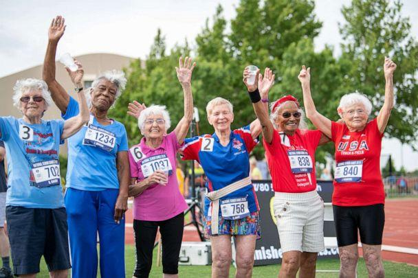 PHOTO: Julia Hawkins, far right, poses with other athletes at the 2019 Senior Games in Albuquerque, New Mexico. (Brit Huckabay/NSGA)