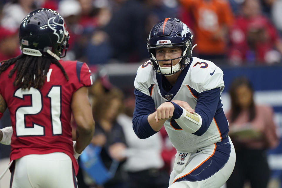 FILE - In this Dec. 8, 2019 file photo Denver Broncos quarterback Drew Lock (3) during the first half of an NFL football game against the Houston Texans in Houston. After each of his three touchdown throws in Denver's 38-24 win at Houston, Lock impersonated Buzz Lightyear firing his laser beam. (AP Photo/David J. Phillip)