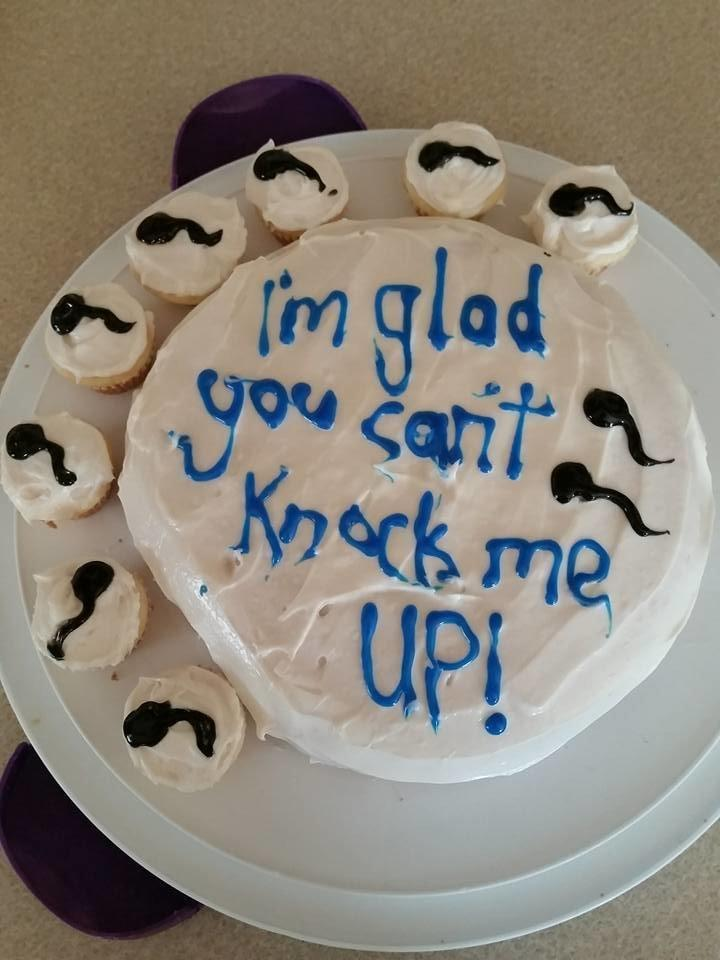 The day before her husband's vasectomy appointment, Amber Cole made him this funny cake. (Amber Cole)