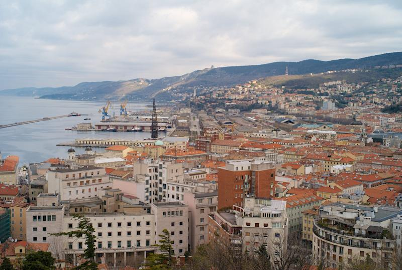 The city center and old town of Trieste from above with the old port in the background. (Photo: Dietmar Rauscher via Getty Images)