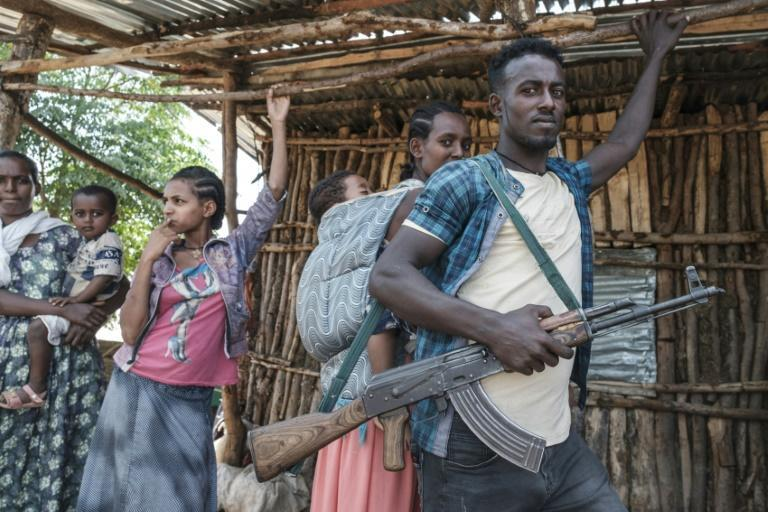 An Amhara region militiaman is pictured Saturday in Musebamb, 44 kilometers northwest of Gondar. Reports of dead and wounded soldiers mounted in Amhara, where a humanitarian aid worker said three died and 35 were treated on Saturday.