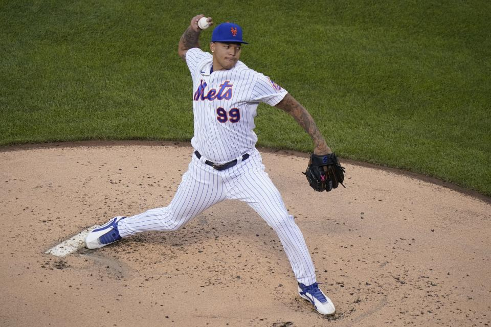 New York Mets' Taijuan Walker delivers a pitch during the second inning of the team's baseball game against the Chicago Cubs on Tuesday, June 15, 2021, in New York. (AP Photo/Frank Franklin II)