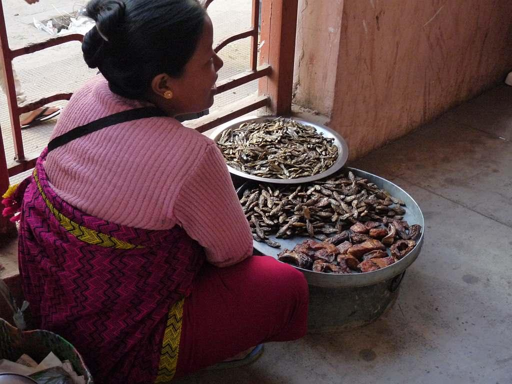 A woman hawks dried fish in the fish market at Ima Keithel in Imphal, Manipur.