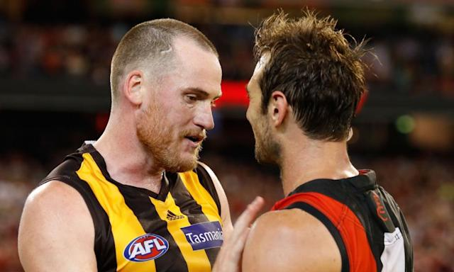 """<span class=""""element-image__caption"""">Returning Bombers star Jobe Watson embraces Jarryd Roughead after Essendon's dramatic victory at the MCG on Saturday night.</span> <span class=""""element-image__credit"""">Photograph: Adam Trafford/AFL Media/Getty Images</span>"""