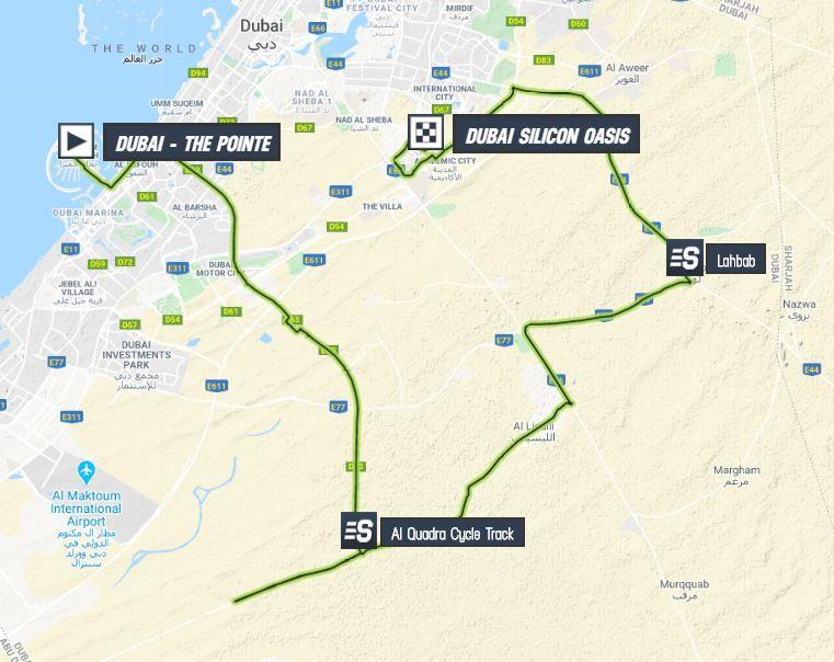 The map of stage 1 of the 2020 UAE Tour