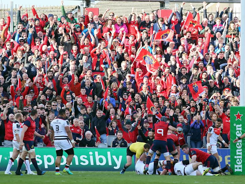 Munster fans celebrate their team's first try during the European Champions Cup quarter-final rugby: Getty