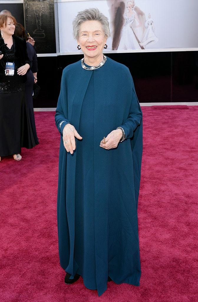 Emmanuelle Riva arrives at the Oscars in Hollywood, California, on February 24, 2013.
