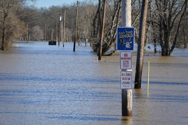 Arnold City Park flooded by the Meramec River in Arnold, Missouri on January 2, 2016 (AFP Photo/Kate Munsch)