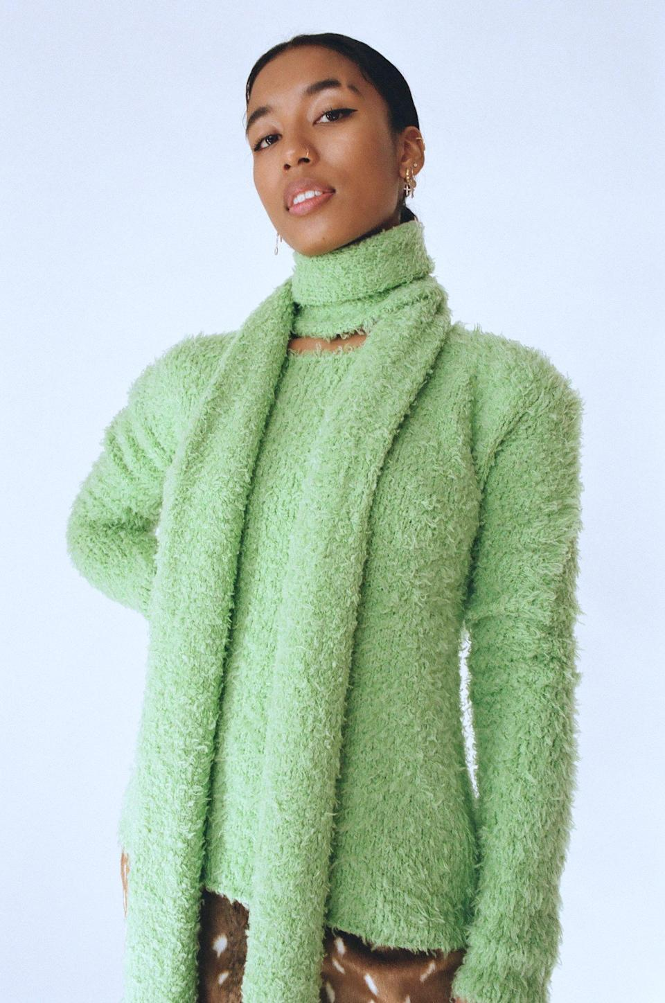 """In case you didn't know, matching your scarf to your sweater is a thing. $313, Sincerely Tommy. <a href=""""https://sincerelytommy.com/collections/tops/products/annie-knit-sweater-and-scarf-set"""" rel=""""nofollow noopener"""" target=""""_blank"""" data-ylk=""""slk:Get it now!"""" class=""""link rapid-noclick-resp"""">Get it now!</a>"""