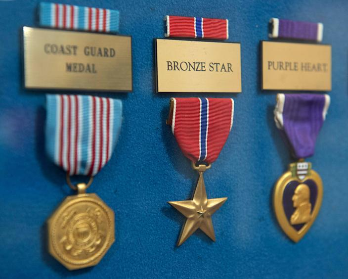 A Bronze Star Medal hangs in a display showcasing various U.S. service medals at G. V. Sonny Montgomery VA Medical Center in Jackson, Miss. on Friday,  Nov. 8, 2019. The Bronze Star Medal is a decoration awarded to members of the United States Armed Forces for either achievement, merit or valor in a combat zone.